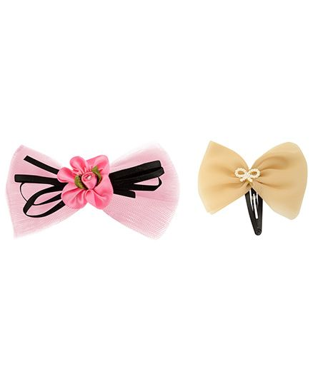 Funkrafts Bow Set Of 2 Hair Clips - Pink & Peach