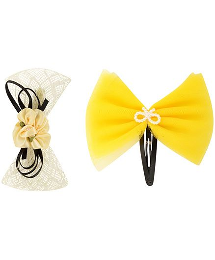 Funkrafts Attractive Pair Of Hair Clips - Yellow & Off White