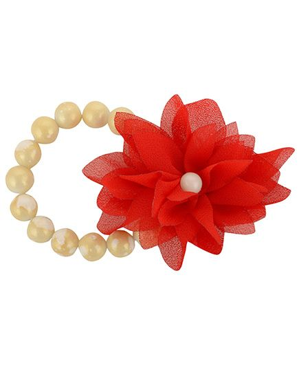 Funkrafts Pearl Bracelet With Flower - Red
