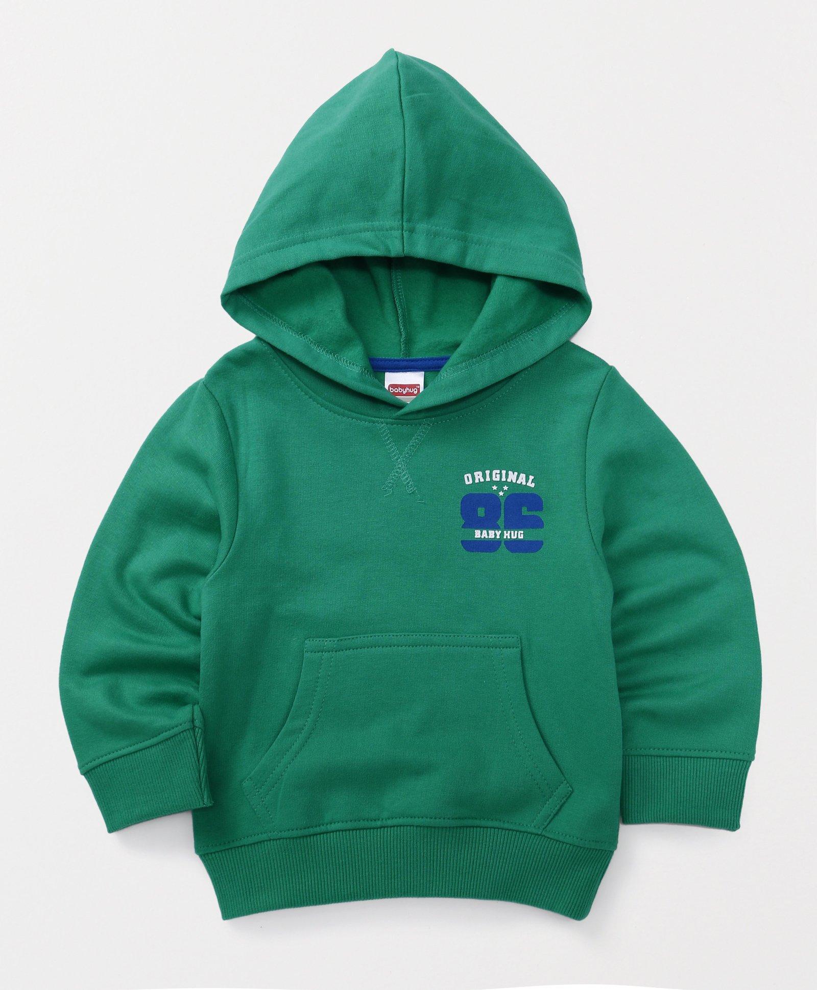 Babyhug Full Sleeves Hooded Sweatshirt Numeric Print - Green