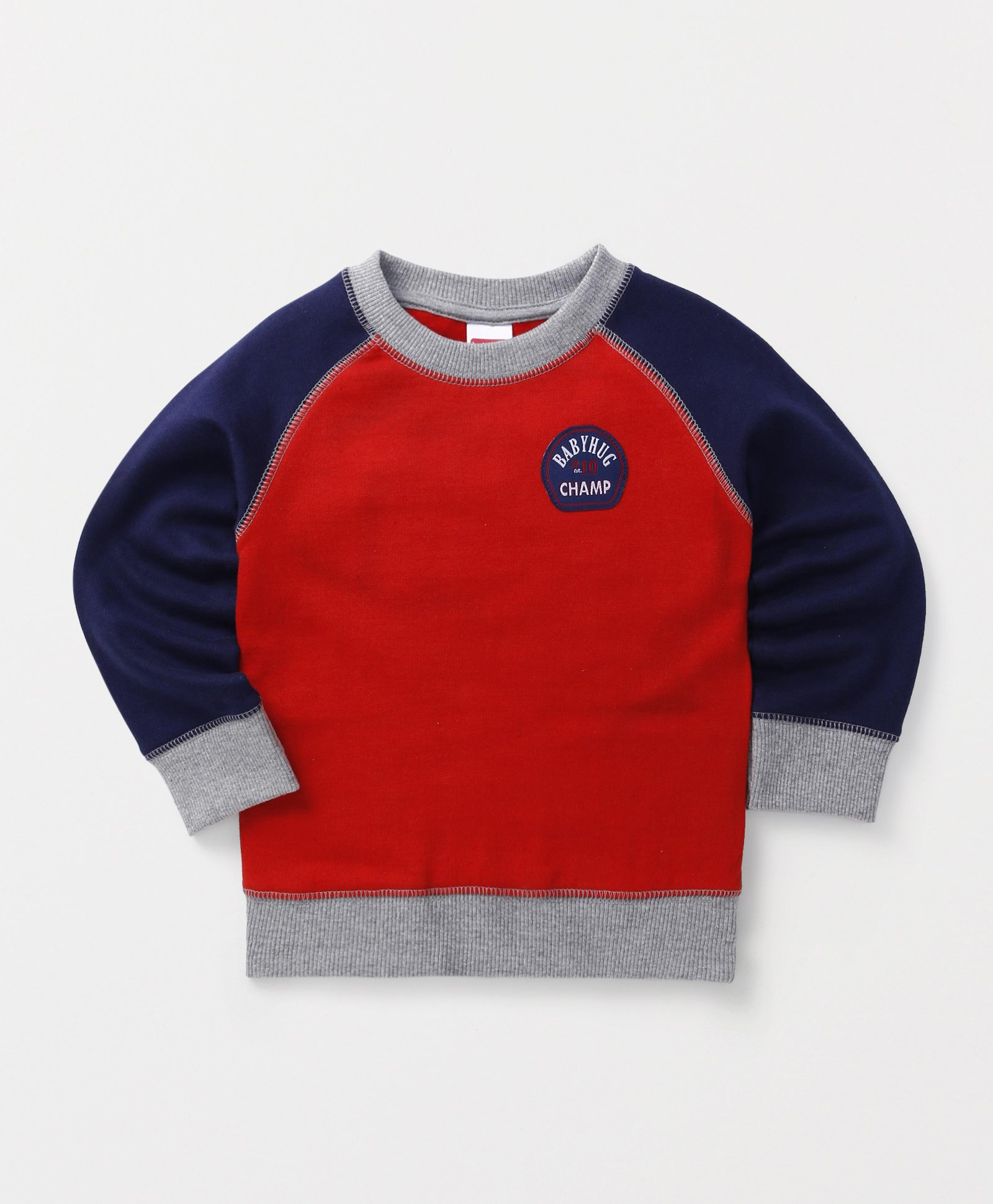 Babyhug Full Sleeves Pullover Sweatshirt - Red Navy & Grey