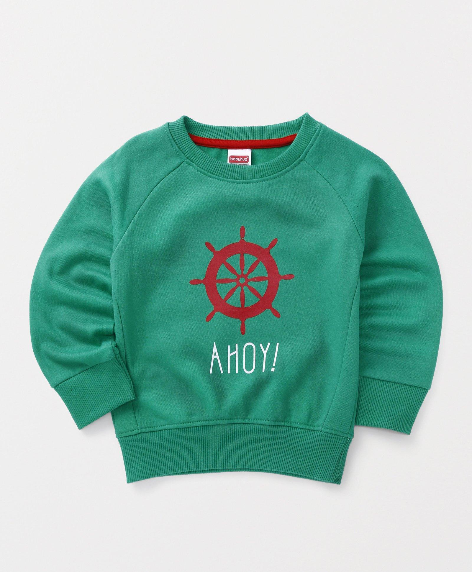 Babyhug Full Sleeves Pullover Sweatshirt Ahoy Print - Green
