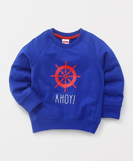 Babyhug Full Sleeves Pullover Sweatshirt Ahoy Print - Blue