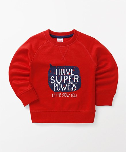 Babyhug Full Sleeves Pullover Sweatshirt Text Print - Red