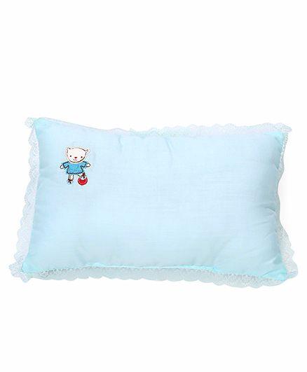 Rectangle Shape Baby Pillow Embroidery Detail - Aqua Blue