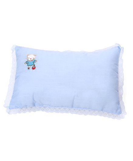 Rectangle Shape Baby Pillow Embroidery Detail - Sky Blue