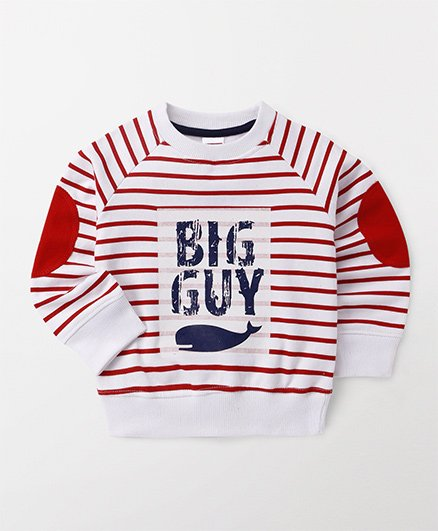 Babyhug Full Sleeve Sweatshirt Big Guy Print - Red White