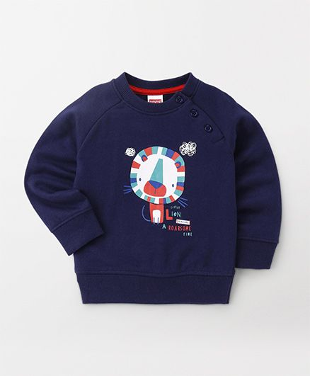 Babyhug Full Sleeves Pullover Sweatshirt Lion Print - Navy