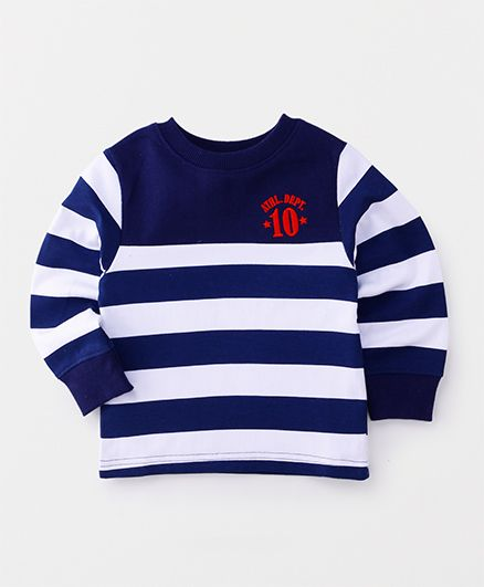 Babyhug Full Sleeves Pullover Sweatshirt Stripes Print - Navy