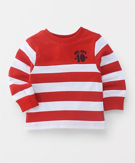 Babyhug Full Sleeves Pullover Sweatshirt Stripes Print - Red