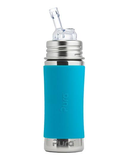 Pura Kiki Sleeve Straw Stainless Steel Bottle Aqua - 325 ml