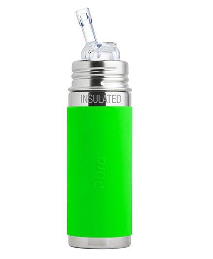 Pura Kiki Straw Vaccum Insulated Bottle Green - 265 ml