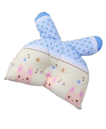 Baby Pillow Rabbit & Strawberry Print - Blue Cream