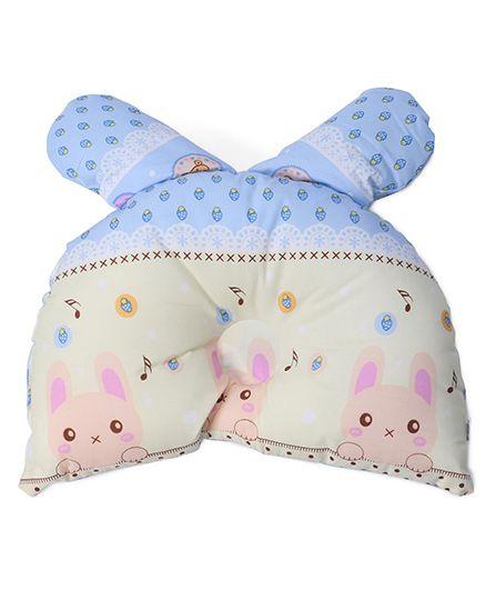 Baby Pillow Rabbit & Strawberry Print - Blue