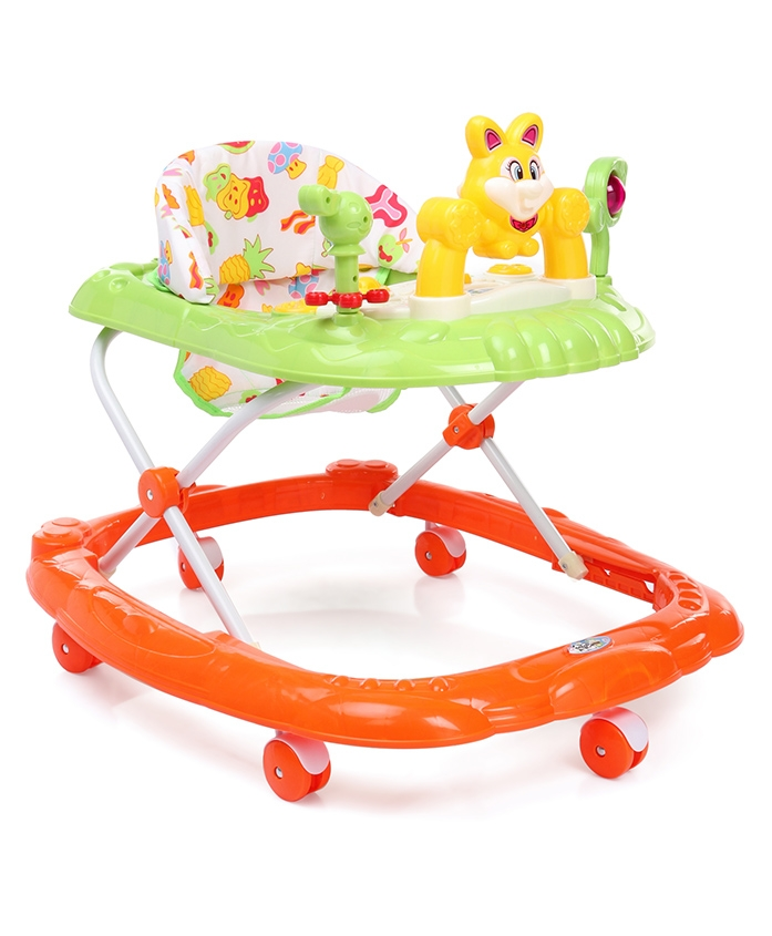 Musical Baby Walker Rabbit Face - Orange Green