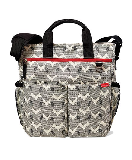 Skip Hop Duo Signature Diaper Bag With Portable Changing Mat Hearts Design - Grey