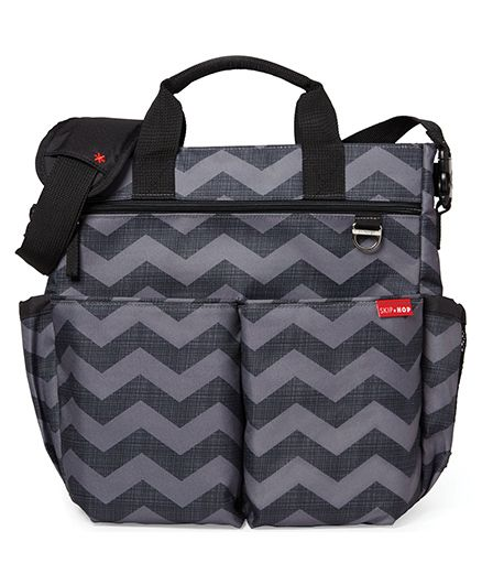 Skip Hop Duo Signature Diaper Bag With Portable Changing Mat - Black Grey