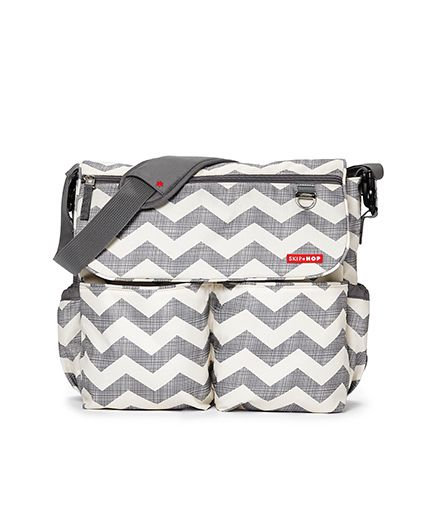 Skip Hop Dash Signature Messenger Diaper Bag - White Grey
