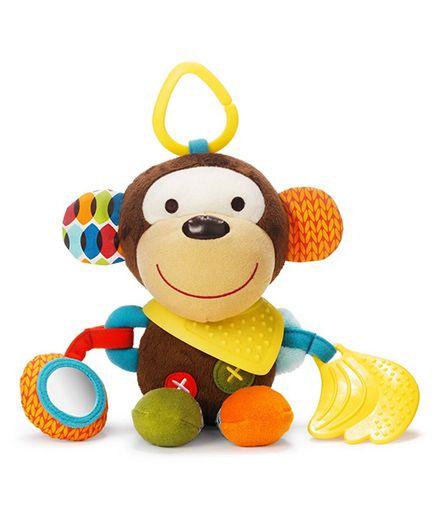 Skip Hop Bandana Buddies Soft Activity Toy Clip On Rattle Monkey - Multicolor
