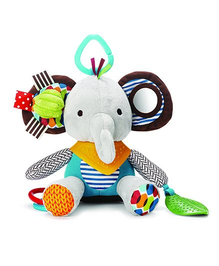 Skip Hop Bandana Buddies Soft Activity Clip On Rattle Elephant - Multicolor