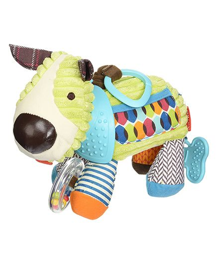 Skip Hop Bandana Buddies Soft Activity Clip On Rattle Puppy - Multicolor