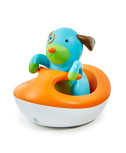 Skip Hop Battery Operated Zoo Bath Rev Up Wave Rider Doggy Toy - Orange Blue