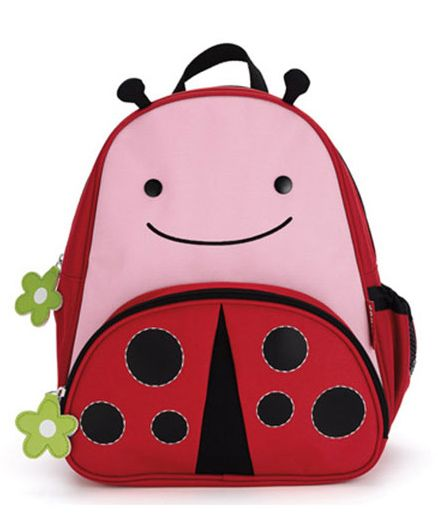 Skip Hop Mini Backpack With Rein Lady Bug Design Pink Red - 7.5 inches