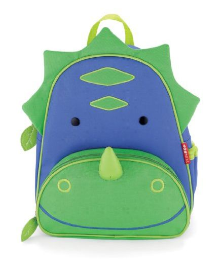 Skip Hop Mini Backpack With Rein Dinosaur Design Green Blue - 7.5 inches