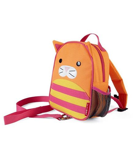 Skip Hop Mini Backpack With Rein Cat Design Orange Pink - 7.5 inches