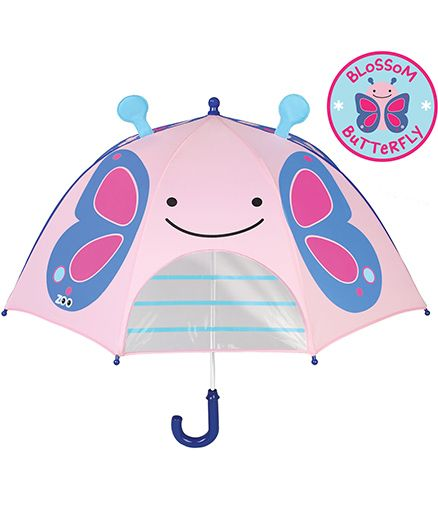 Skip Hop Little Kid And Toddler Umbrella Zoo Butterfly Design - Pink