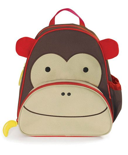 Skiphop School Bag Monkey Design Brown Cream - 12 inches