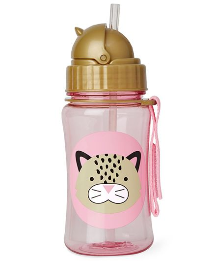 Skiphop Zoo Sipper Bottle With Straw Leopard Print Pink - 350 ml