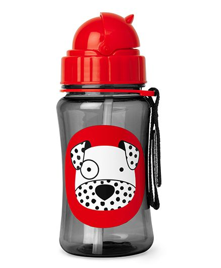 Skiphop Zoo Sipper Bottle With Straw Dalmatian Print Black - 350 ml