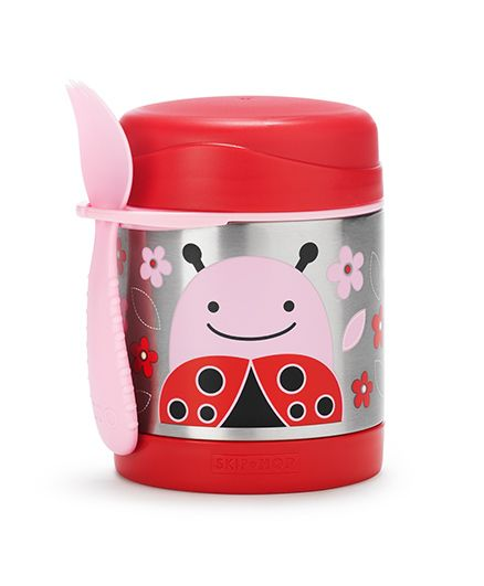 Skip Hop Insulated Food Jar And Fork Set Ladybug Print - Pink Red