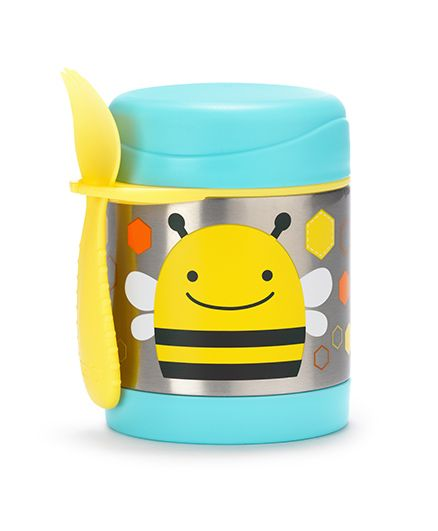 Skip Hop Insulated Food Jar And Fork Set Bee Print - Aqua Blue Yellow