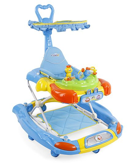 Baby Musical Walker With Canopy - Sky Blue & Yellow