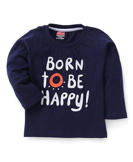 Babyhug Full Sleeves T-Shirt Text Print - Navy Blue