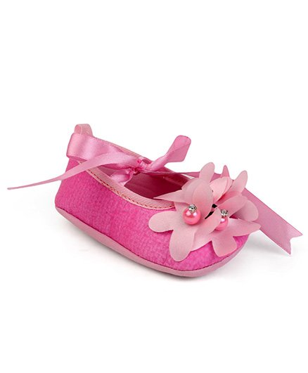 Barbie Booties With Floral Applique - Light Pink