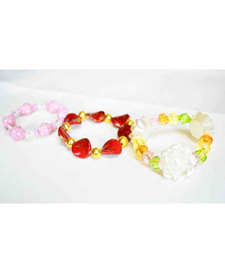 Little Tresses Flower Bracelets Set Of 3 - Red Pink & White