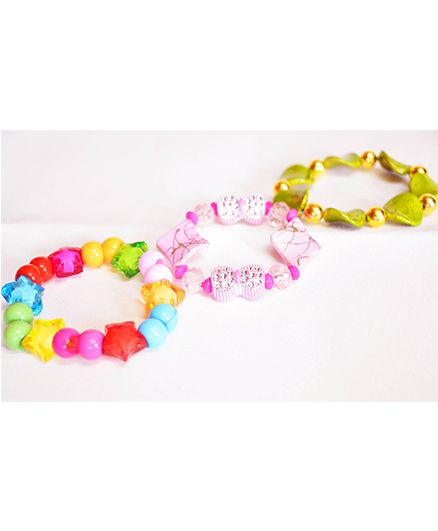 Little Tresses Flower Bracelets Set Of 3 - Multicolor