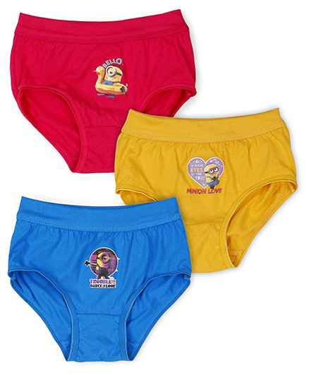 Minions Panties Printed Pack Of 3 - Red Yellow Blue