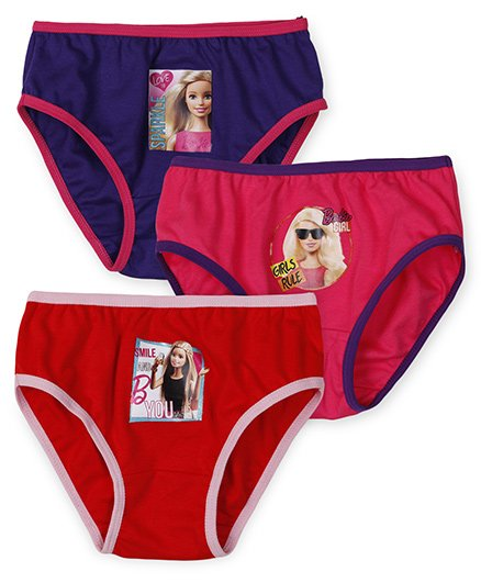 Barbie Panties Printed Pack Of 3 - Red Pink Purple