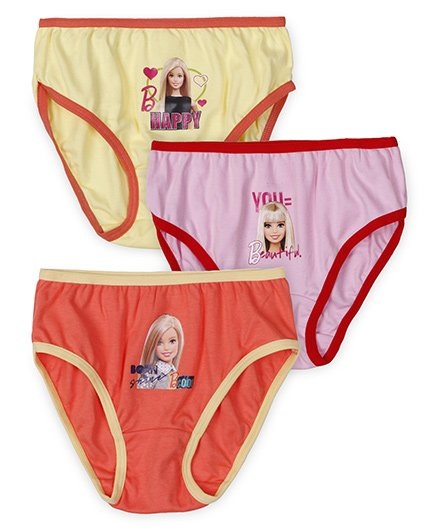 Barbie Panties Printed Pack Of 3 - Yellow Pink Orange