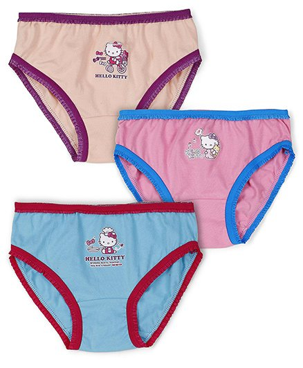 Hello Kitty Panties Printed Pack Of 3 - Blue Pink Peach
