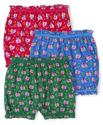 Red Rose Bloomers Cute Teddy Print Pack Of 3 - Pink Blue Green