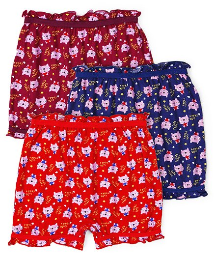 Red Rose Bloomers Cute Teddy Print Pack Of 3 - Red Navy Maroon