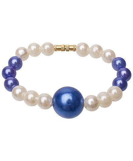 Daizy Pearls & Bead Bracelet - Blue & White
