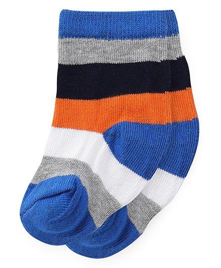 Cute Walk by Babyhug Anti Bacterial Socks Stripes Socks - Blue Orange
