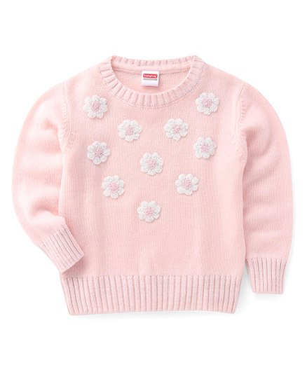 Babyhug Full Sleeves Pullover Sweater With Floral Motifs - Baby Pink