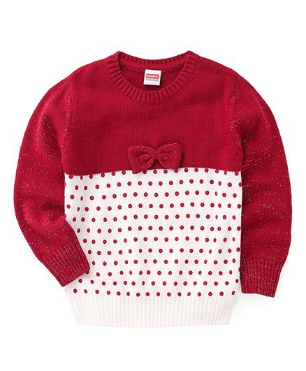 Babyhug Full Sleeves Dotted Pullover Sweater With Bow Applique - White Maroon